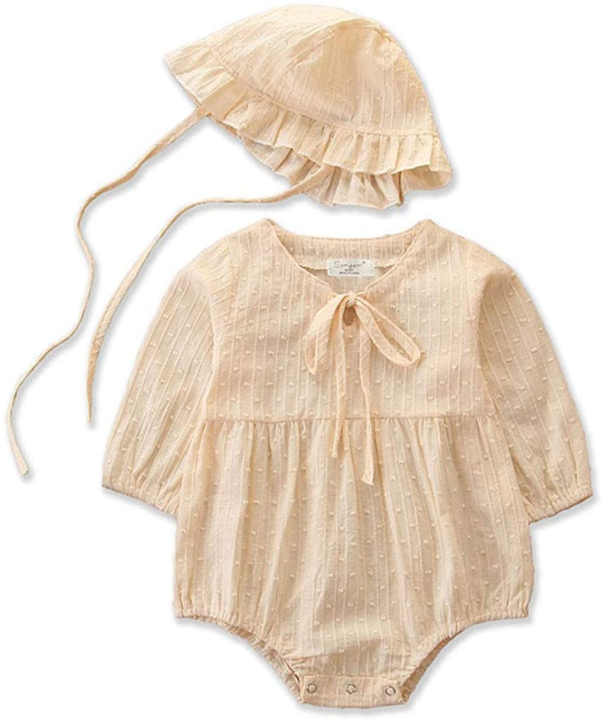 Newborn Infant Baby Girl Jumpsuit Set Long Sleeve Solid Color Lace Up One-Piece Romper with Cap Outfits