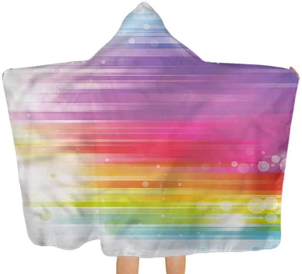 ThinkingPower Hooded Baby Towel Rainbow, Abstract Lines and Circles Toddler/Kids Bath Towels with Hood Suitable as Baby Gifts 51.5x31.8 Inch