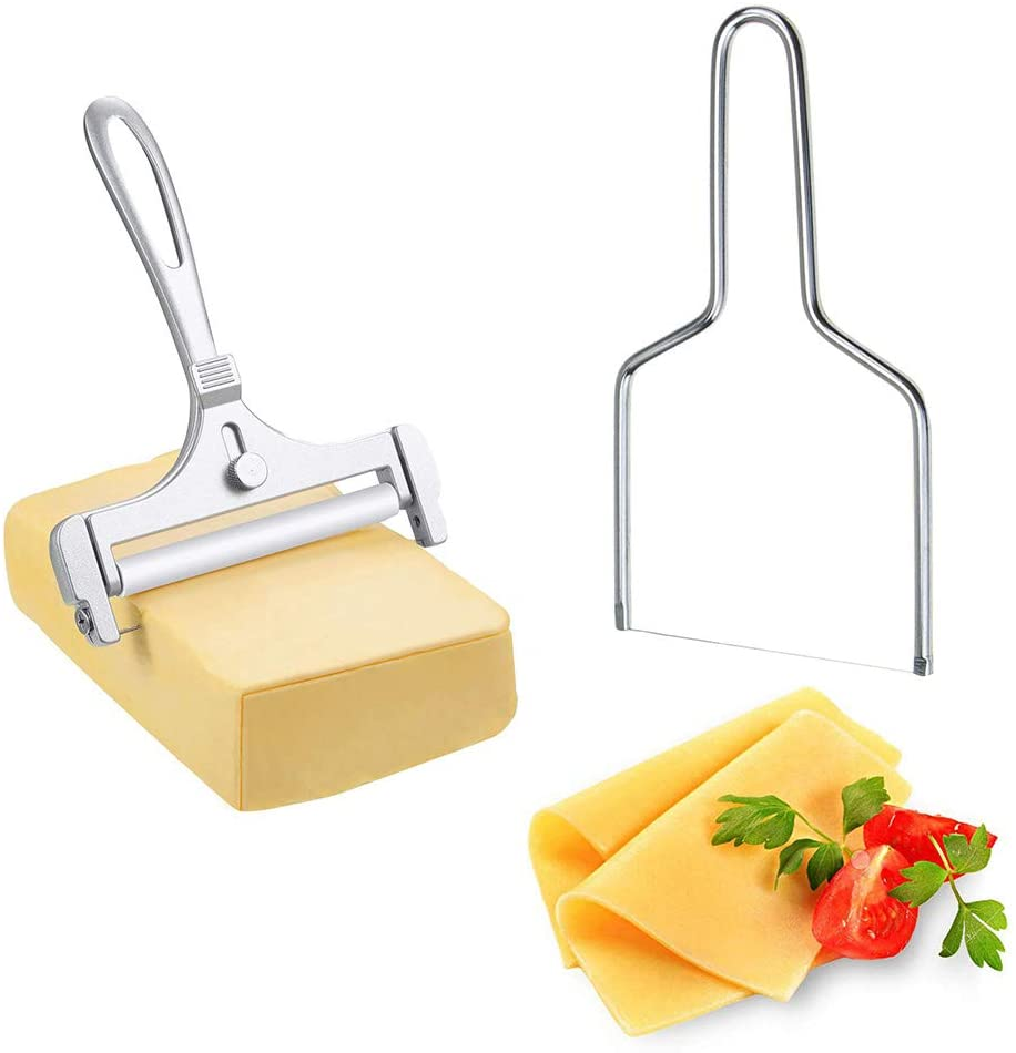 Dxary 2 Pieces Wire Cheese Slicer, Cheese Lyre Stainless Steel Cheese Slicers Adjustable Thickness Cheese Cutter and Handheld Butter Cutter Tools for Soft, Semi-Hard Cheeses Kitchen Cooking Tool