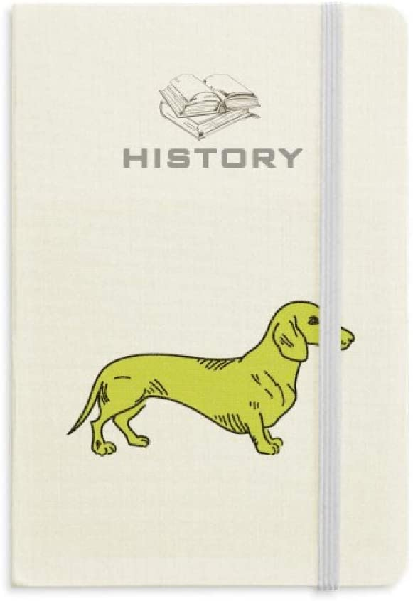 Cartoon Dog Yellow Illustration Pattern History Notebook Classic Journal Diary A5