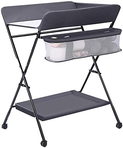 Changing table Baby Changing Table Multifunctional Massage Diaper Table Newborn Baby Changing Clothes Table Folding Crib Care Bathing Station Nursing Table (Color : Gray)