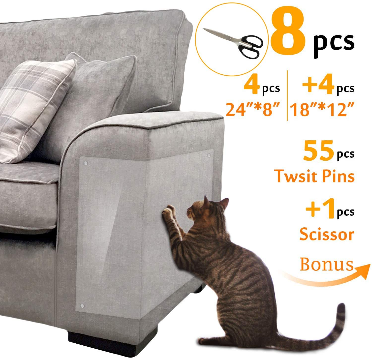 Hakes Toys Furniture Protectors from Cats |Couch Cover |Scissors of Bonus |4pcs 24''L8''W+4pcs 18''L12''W+55pcs Twist Pins |Best Cat Scratch Deterrent for Leather Sofa Door and Chair