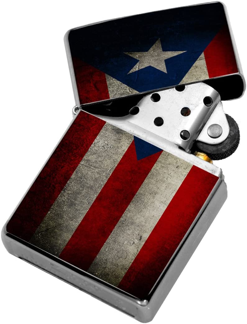 Puerto Rico Flag - Windproof Flip-Top Refillable Silver Lighter with tin Gift Box