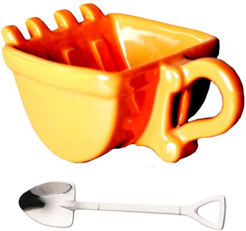 ZPFDM Coffee Mugs, Personalized Coffee Mug 260ml Creative Excavator Spoon Ceramic Bucket Cup, Model Cigar Cup, Whiskey Ashtray, Coffee Tea Cup Best Gift
