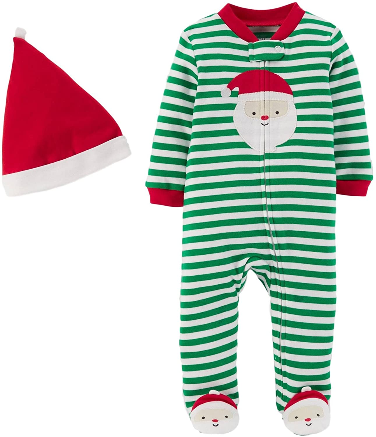 Carter's Just One You Baby Boys 2pc Striped Sleep N' Play and Hat Set Green/Red