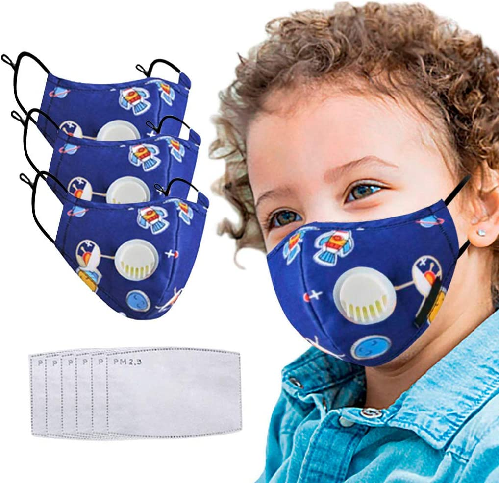 Kids Face Madks Children Face Protection Washable Reusable Cotton Fabric Anti-Dust Bandanas + Filters for Outdoor (3 Blue +6)