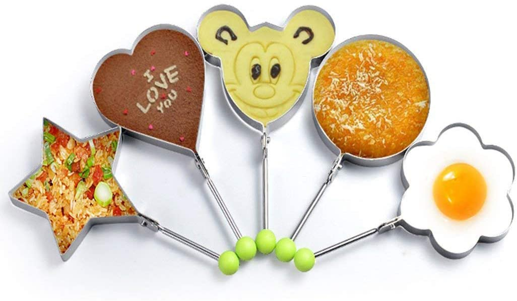 5 pcs Stainless steel frying eggs Pancake mold kitchen Fried egg molds Making Cakes, Meatloaf, Biscuits and Other Delicious Food 5-shape