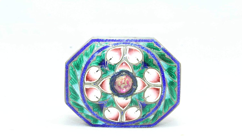 Rajasthan Gems Handmade Trinket Box Cloisonne Color Enamel Meena Work 925 Sterling Silver - 5