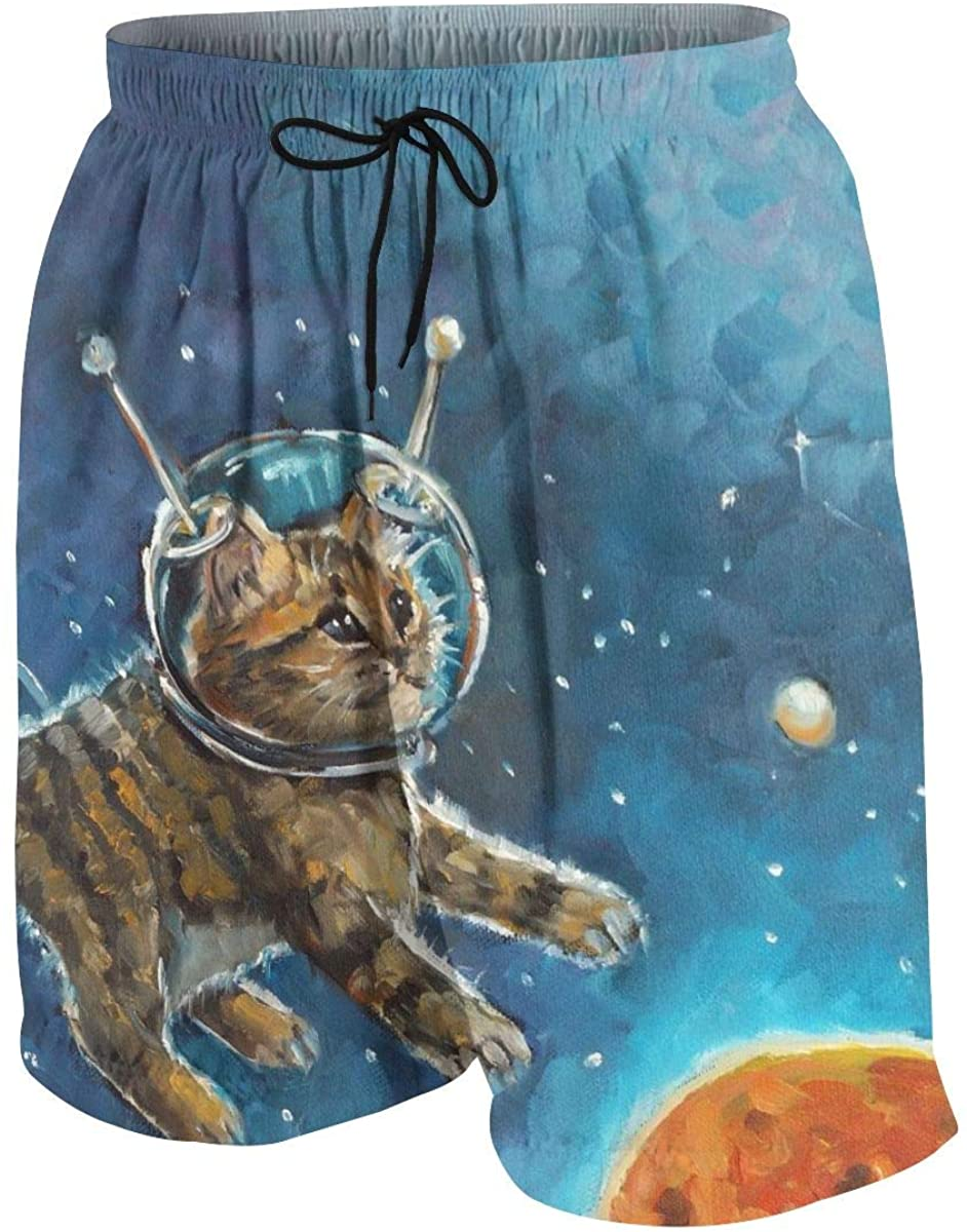 Merahans Oil Painting Kitten Astronaut Boys Girls Quick Dry Beach Board Shorts Cute Swim Trunk
