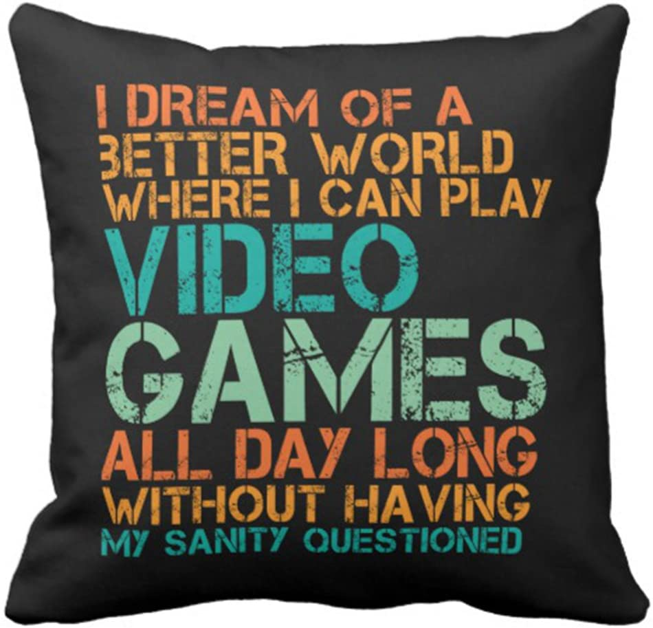Emvency Throw Pillow Cover Funny Quote for Video Games Geek and Gamer Decorative Pillow Case Home Decor Square 18 x 18 Inch Cushion Pillowcase