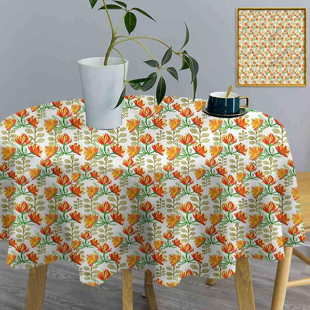 ThinkingPower Round Table Cloth Floral, Garden Spring Branches Polyester Circular Wrinkle Free Table Cloth Can be Used Outdoors (Diameter50 Inch)