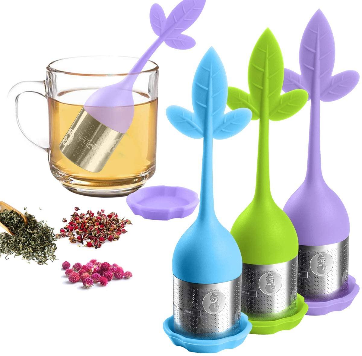 Loose Leaf Tea Infuser, Tea Strainer for Loose Tea Fine Mesh Tea Filter for Steeping Loose Tea, Tea Steeper for Teapot, Tea Diffuser w/Maple Shaped Silicone Handle, Stainless Steel Infuser Set