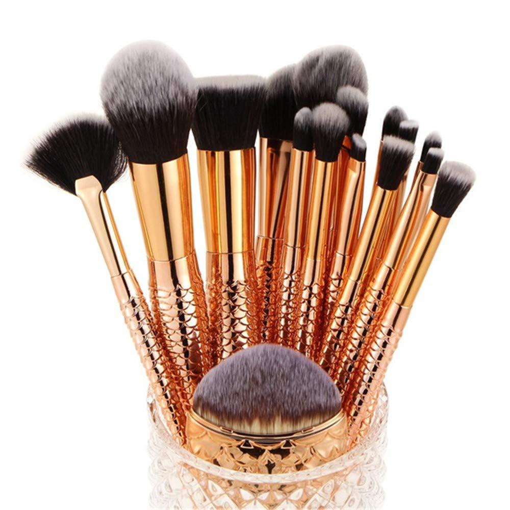 Professional Mermaid Makeup Brushes Kit 16 Pcs - Makeupstore Cosmetic Makeup Brushes Foundation Eyebrow Eyeliner Blush Cosmetic Concealer Brushes Beauty Tools Brush, Gold