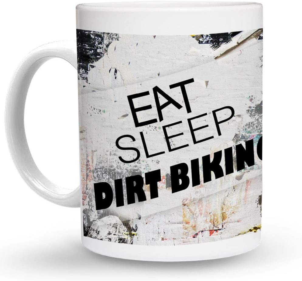Makoroni - EAT SLEEP DIRT BIKING Sport 6 oz Ceramic Espresso Shot Mug/Cup Design#28