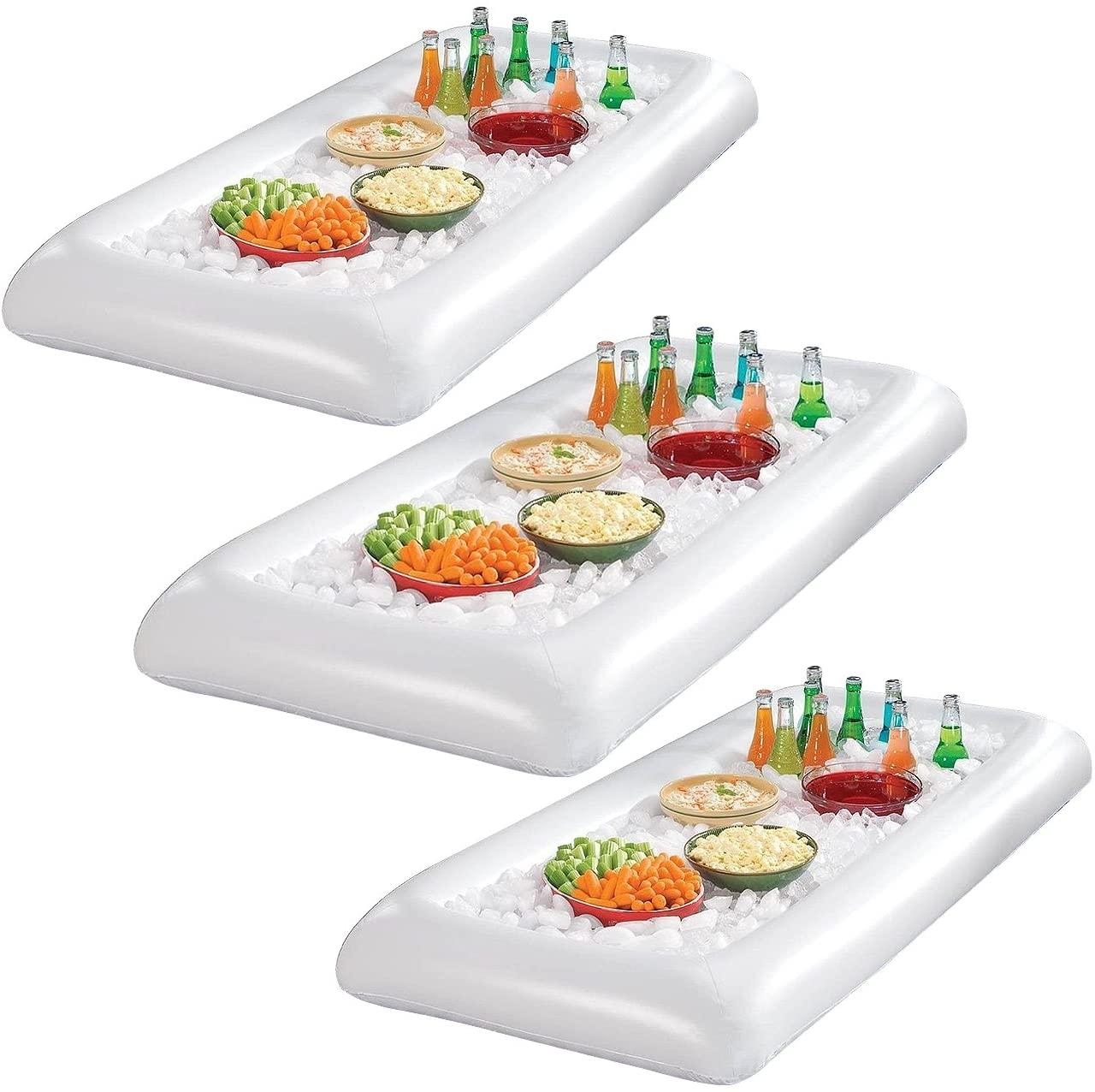 Sorbus White Inflatable Drinks & Food Serving Bar with Drain Plug (3 Salad Bars)