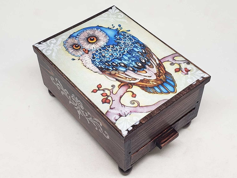 Vintage Owl Wood Jewelry Box