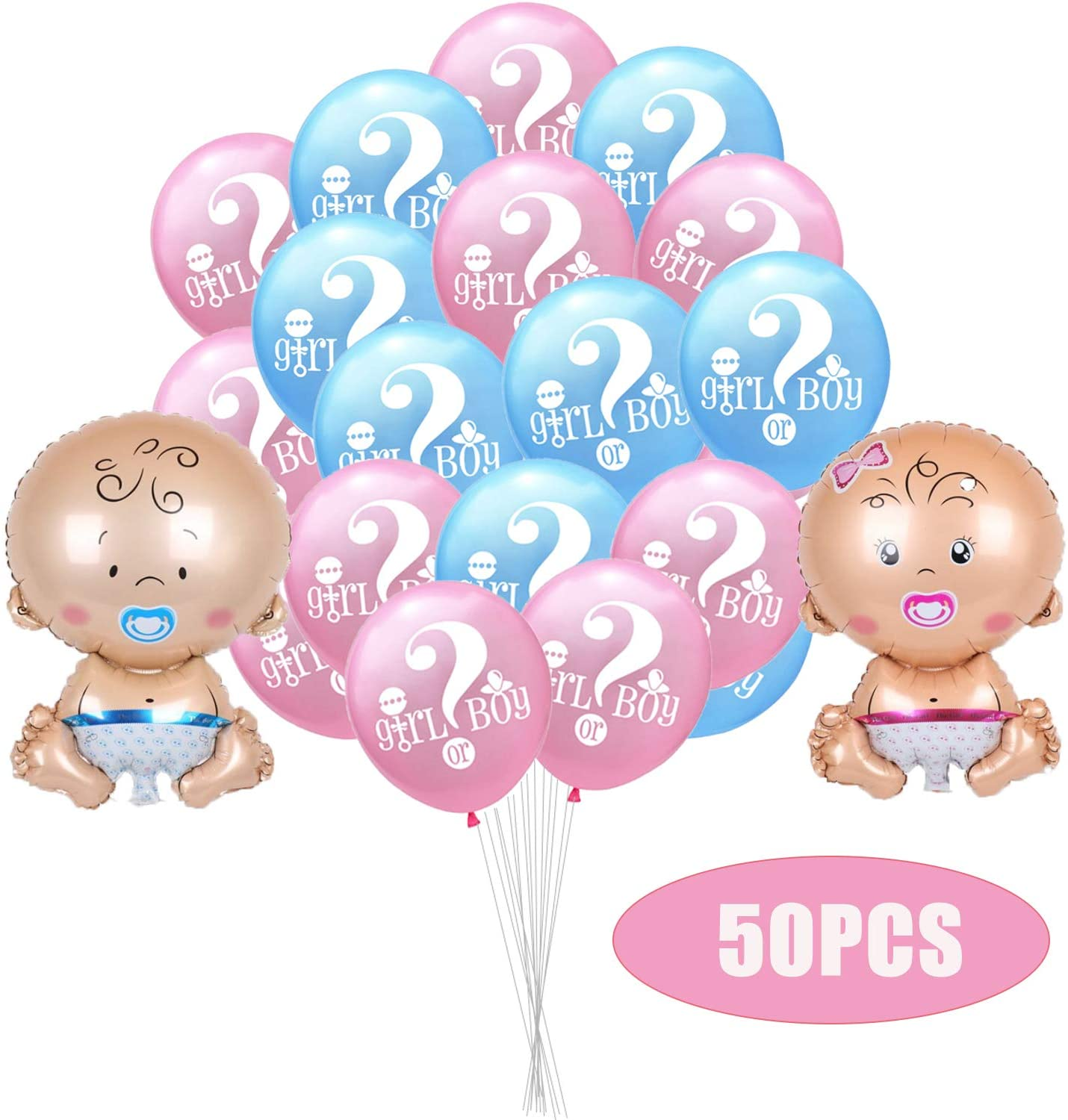 50PCS Gender Reveal Decorations Party Balloons - Baby Shower/Birthday Party Supplies Decoration Pink Blue Foil Balloon and Latex Balloons