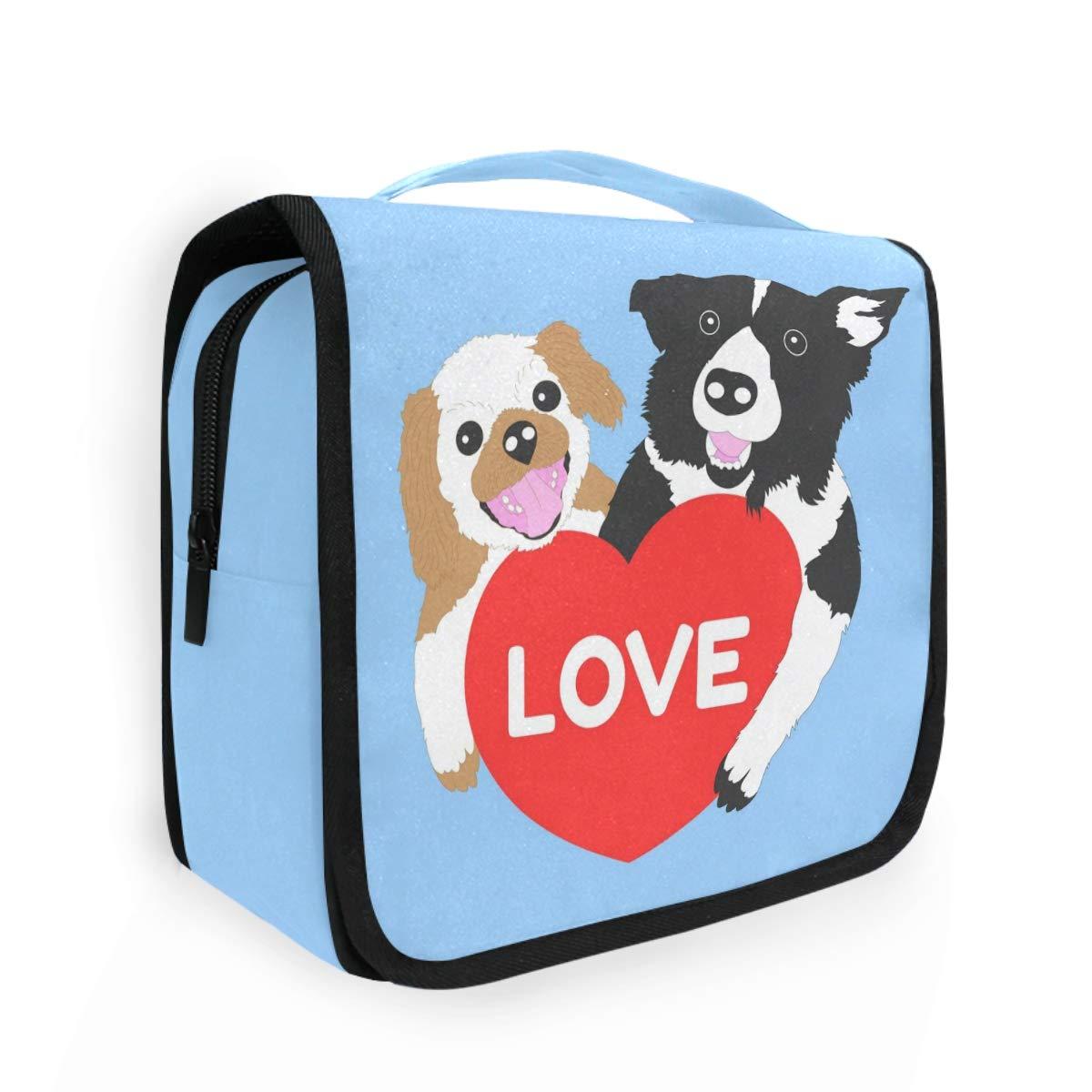 CaTaKu Happy Valentine Cosmetic Toiletry Bag, Animal Dog Love Cosmetic Bag Toiletry Bag Multifunction Bag Cosmetic Portable Makeup Waterproof Travel Hanging Organizer Bag for Men & Women