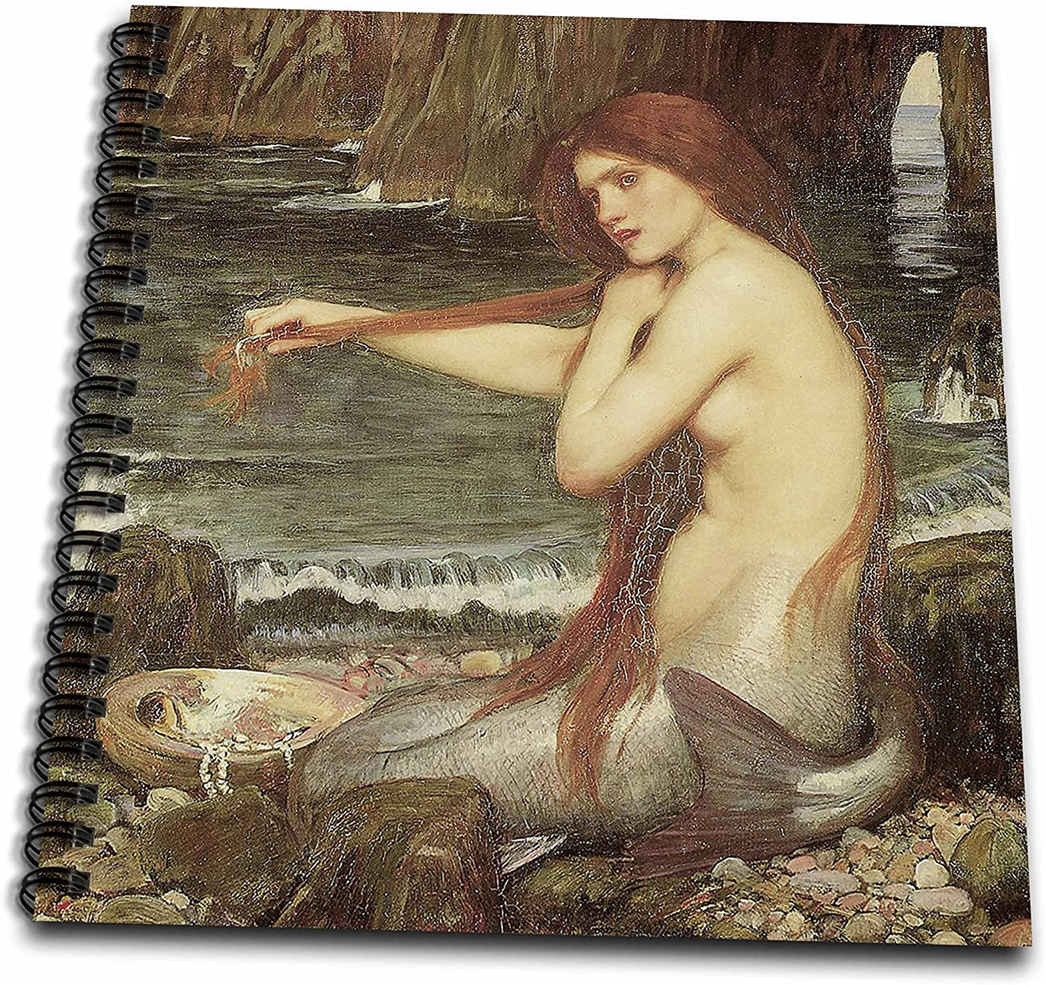 3dRose db_127294_1 A Mermaid by John William Waterhouse Drawing Book, 8 by 8-Inch