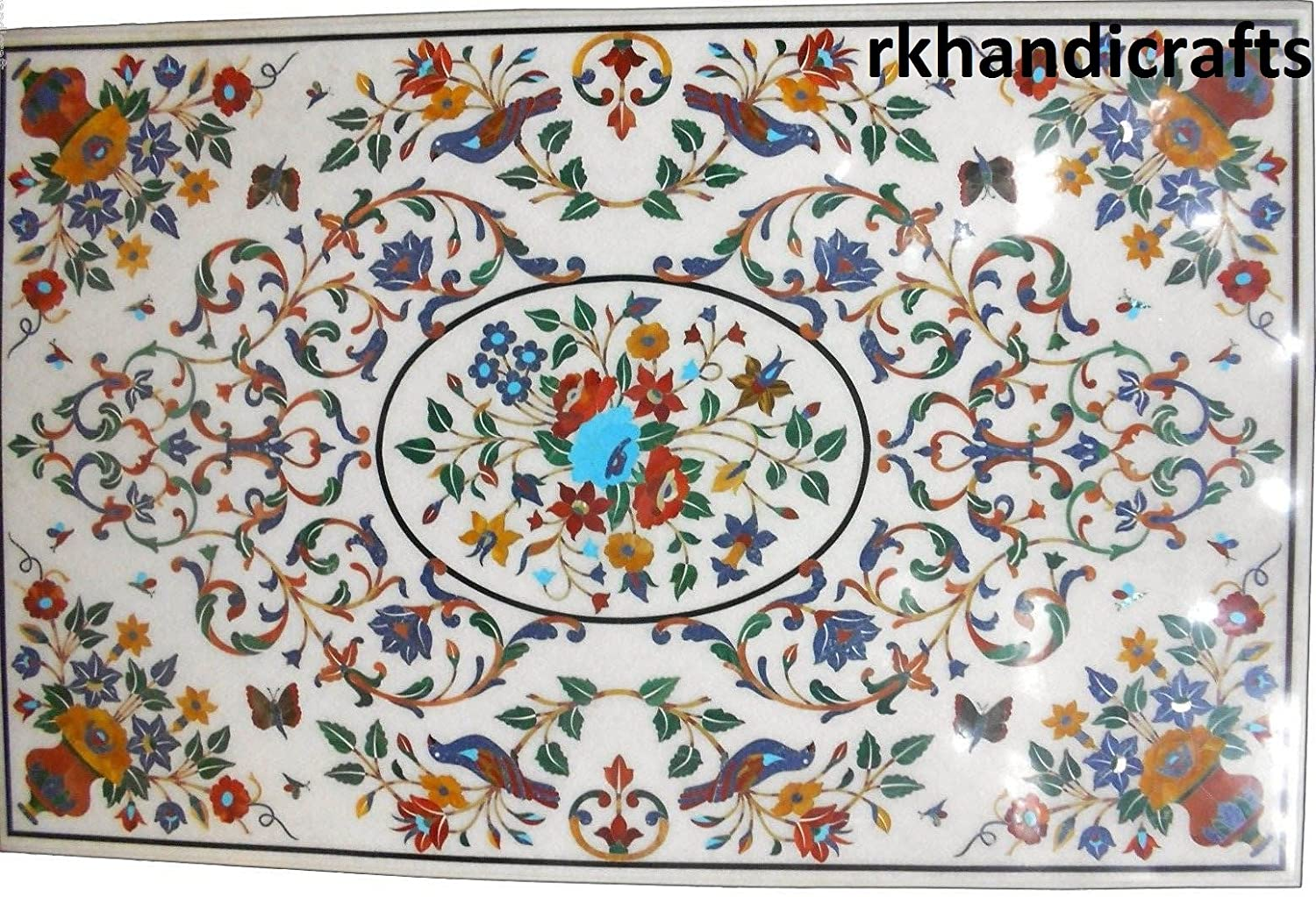 White Marble Patio Dining Table Top, Patio Coffee Table Inlay Work with Multi Colors Semi Precious Stones Floral Art, Size 30 inches x 60 Inches
