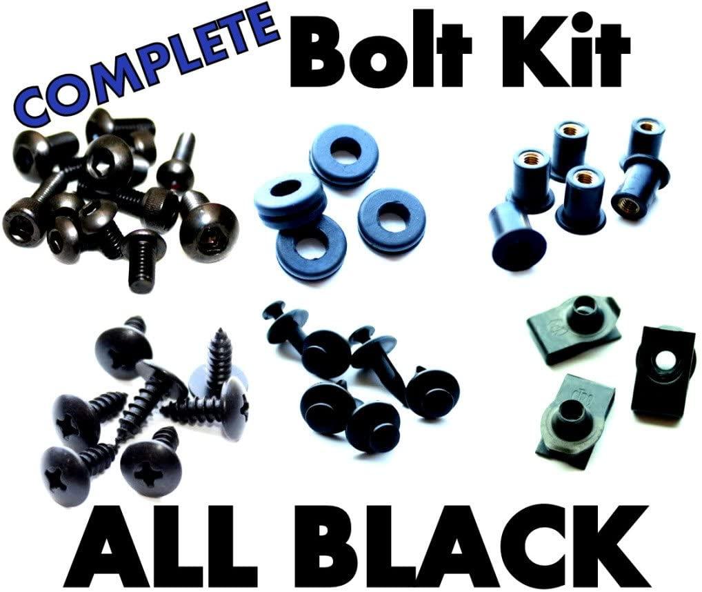 Complete Black Fairing Bolt Kit Screws Fasteners for Honda CBR929RR 2000-2001