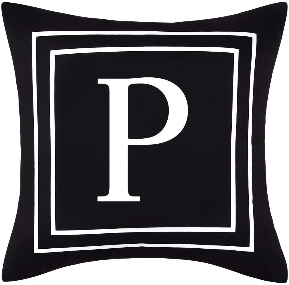 Yastouay Pillow Covers English Alphabet P Throw Pillow Cover Black Throw Pillow Case Modern Cushion Cover for Sofa Bedroom Chair Couch Car (Black, 18 x 18 Inch