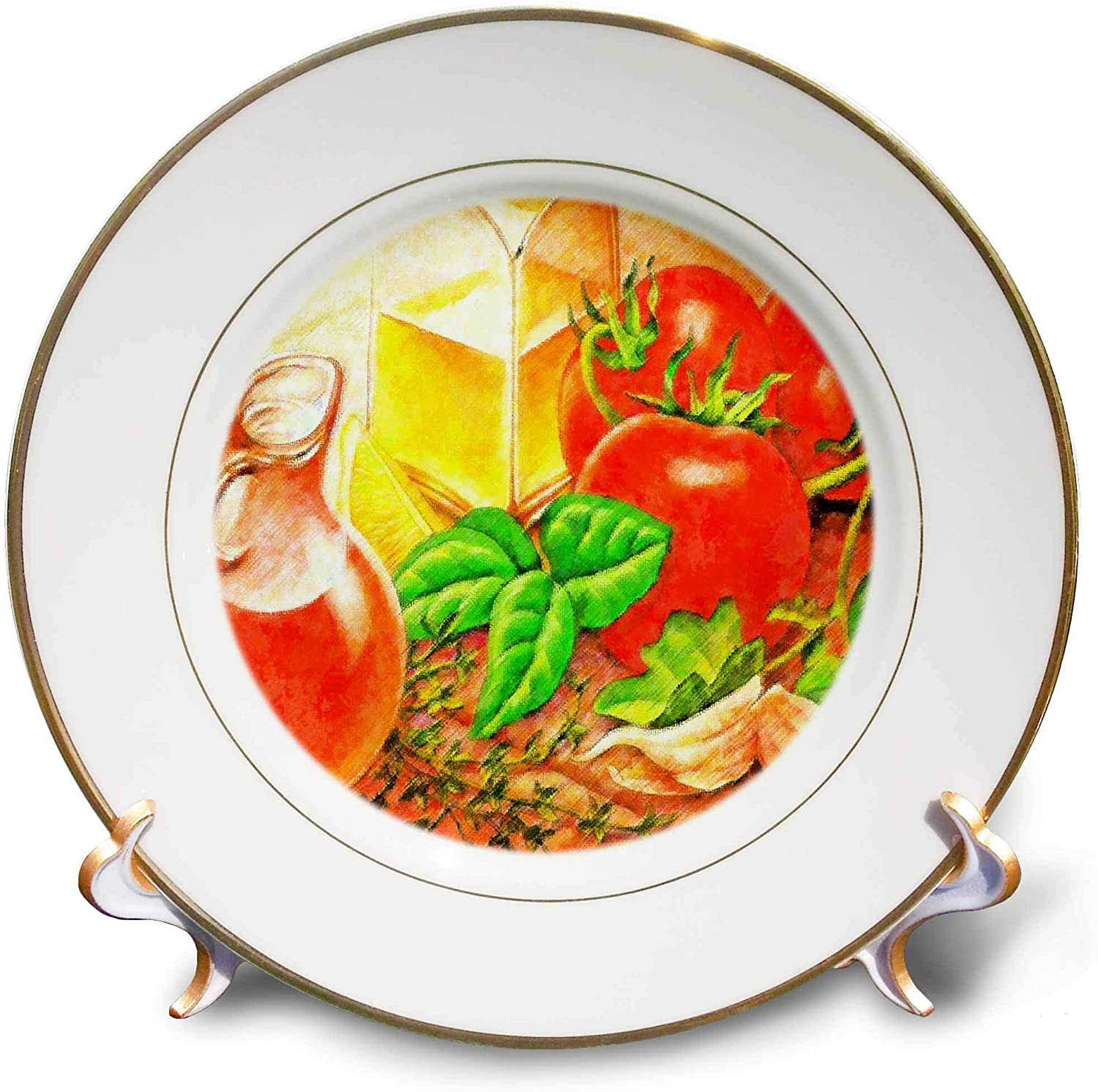 3dRose Lens Art by Florene - Impressionism Art - Image of Italian Table Set with Olive Oil Tomatoes and Parsley - 8 inch Porcelain Plate (cp_322672_1)
