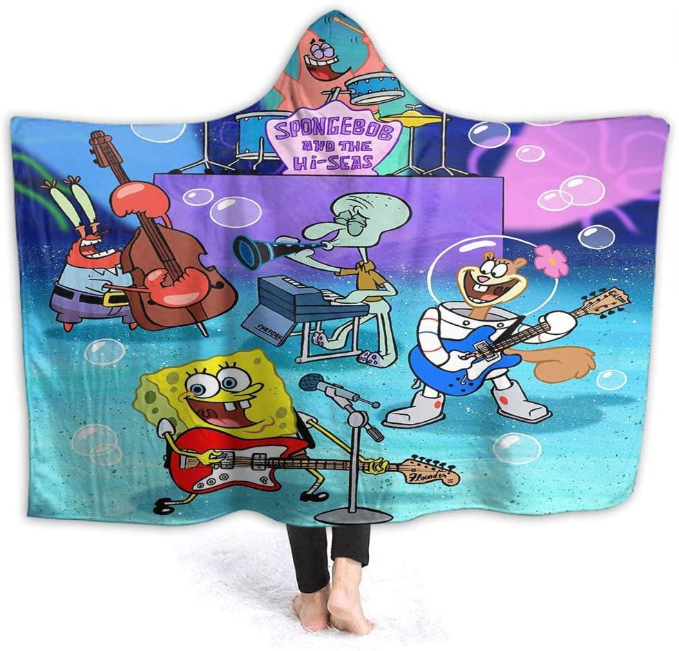 Spongebob Comfy Hooded Blanket 3DSpongeBob Squarepants Microplush, Functional Little Kids Size 50 x 40 Inch