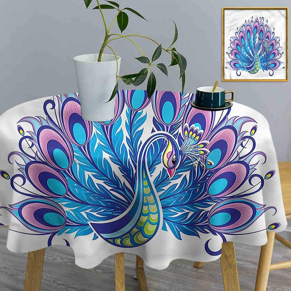 ThinkingPower Table Cloth Peacock, Hand-Drawn Bird Colorful Decorative Round Table Cover use for Backyard Party (Diameter54 Inch)