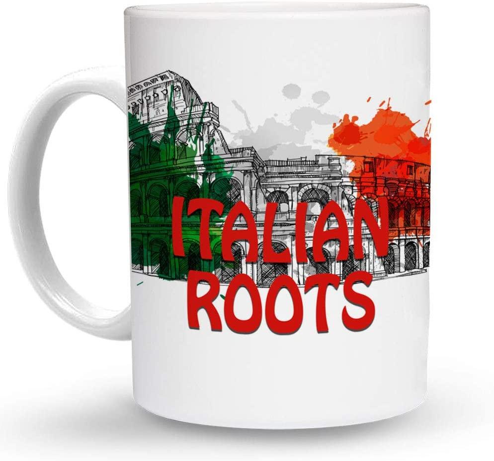 Makoroni - ITALIAN ROOTS Italy Flag 6 oz Ceramic Espresso Shot Mug/Cup Design#5