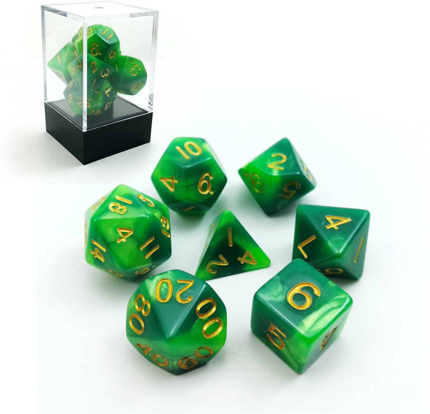 Swirled Two Tone Swirled Green RPG Dice Set of 7 in Brick Box Package, Complete Polyhedral Dice Set of d4 d6 d8 d10 d12 d20 d%