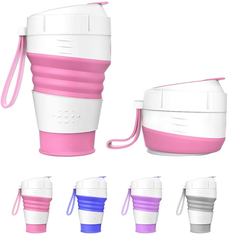 MoKo Collapsible Silicone Travel Cup, Portable Foldable Coffee Mug, Reusable Leak-Proof BPA Free Water Bottle 450ml (15oz) with Straw and lid for Camping, Walking, Hiking, Office, Picnic