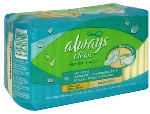 Always Clean Ultra Thin Pads Regular with Wings, Unscented, 16-count Package