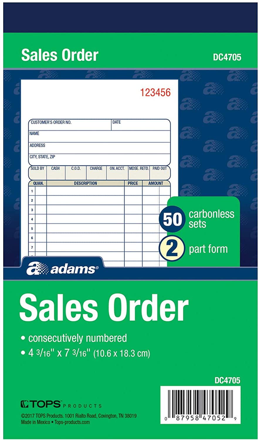 Adams Sales Order Books, 2-Part, Carbonless, White/Canary, 4-3/16