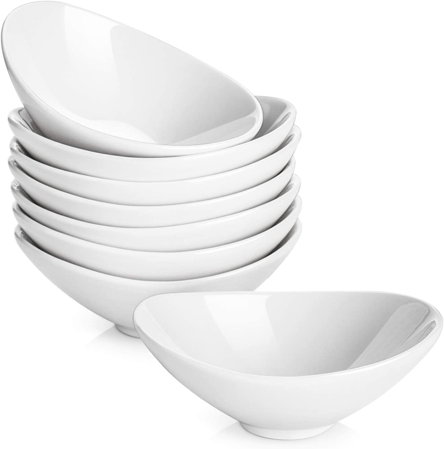 DOWAN Dip Bowls Set, 3 Oz Porcelain Dipping Sauce Bowls/Dishes for BBQ, Soy, Tomato Sauce, and Party Dinner, Set of 8, White