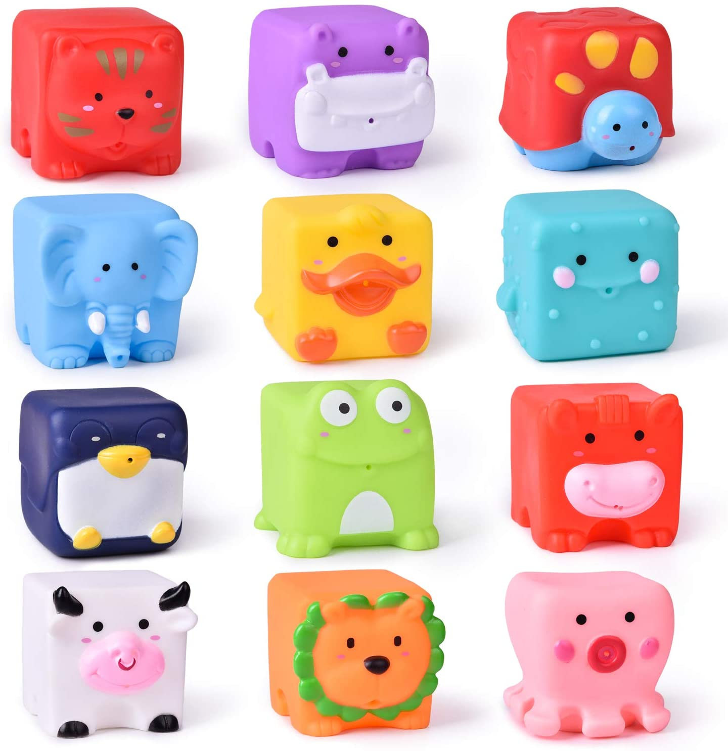 FUN LITTLE TOYS Kids Bath Toys, Soft Cube Bath Squirters, Squeeze Water Toys Building Blocks for Kids, 12 Pieces