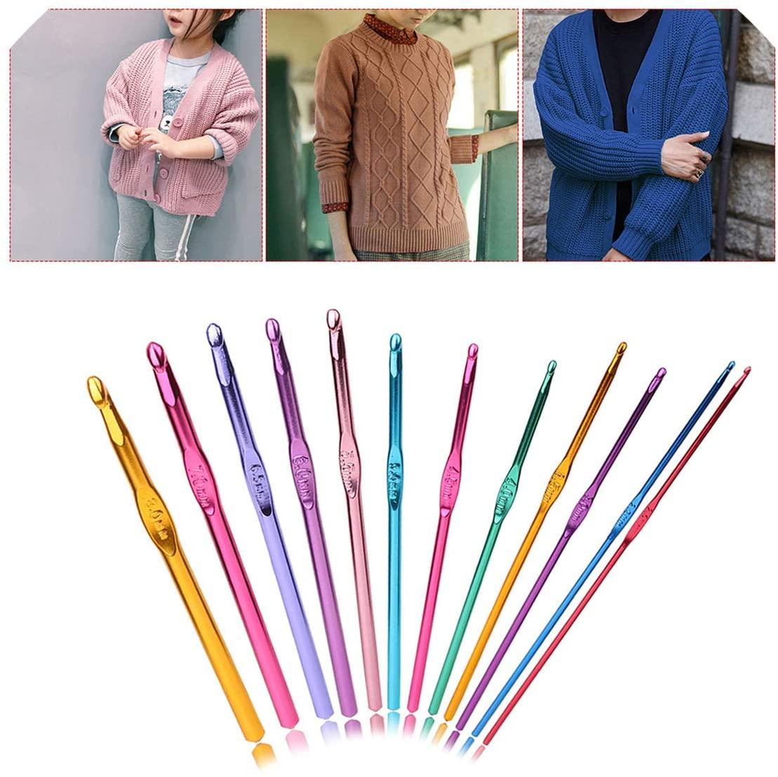 12Pcs/Set Multicolor Aluminium 2Mm 10Mm Crochet Hooks Yarn Knitting Needles Kit Crafts Tools Home Accessories