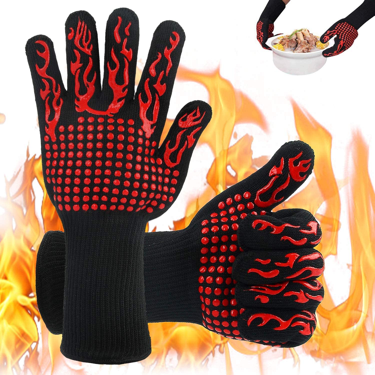 Acecharming BBQ Gloves, 1472℉ Outdoor Cooking Heat Resistant for Smoker, Barbecue, Grill, Frying, Grilling Gloves Silicone Oven Mitts – Fits Most
