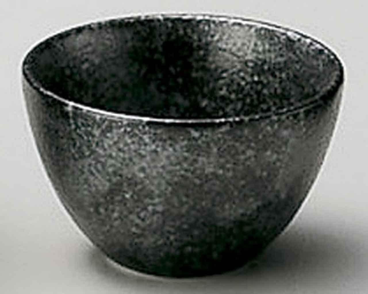 Silver & Black 2.2inch Sake Cup Black porcelain Made in Japan
