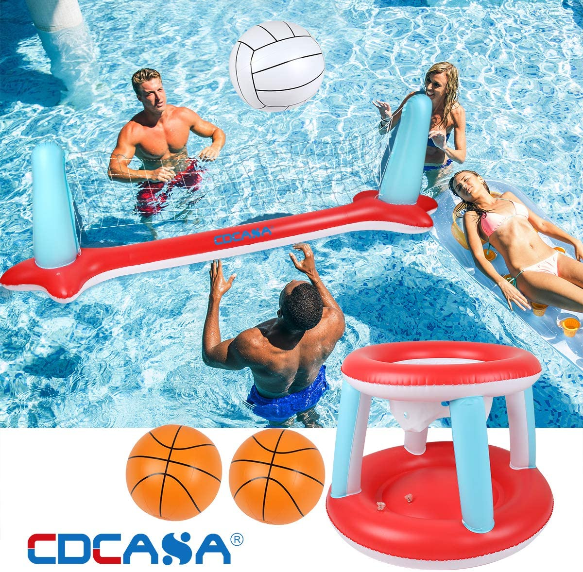 """Inflatable Pool Float Set Volleyball Net & Basketball Hoops; Balls Included for Kids and Adults Swimming Game Toy, Floating, Summer Floaties, Volleyball Court (115""""x30""""x37"""") Basketball (29""""x22""""x29"""")"""