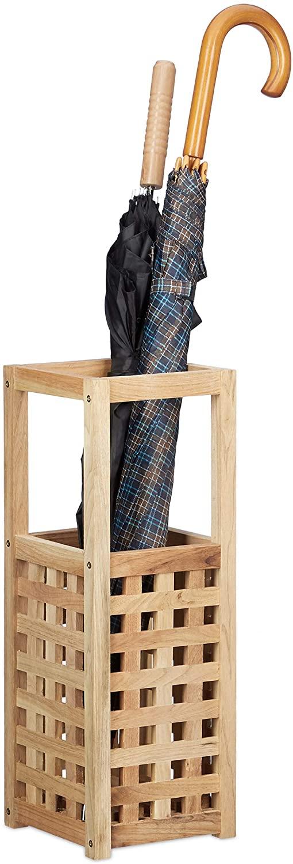Relaxdays Walnut Umbrella Stand, Square, Cane Holder, Parasol Storage, Wood, HxWxD: 50 x 18 x 18 cm, Natural