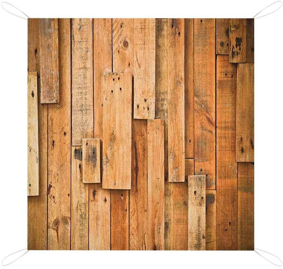 Nomorer Wooden Picnic Blanket Waterproof Bottom, Lodge Style Teak Hardwood Wall Planks Farmhouse Vintage Grunge Design Artsy Print Beach Blanket, 60