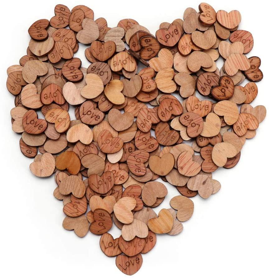 skonhed 100pcs Rustic Wooden Love Heart Wedding Table Scatter Decoration Crafts