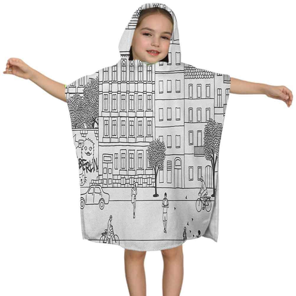 German Hooded Bath & Beach Towel, Monochrome Sketch of Berlin Square Hand Drawn Urban Scene with People Image, W24 x L24 Inches Bath Wrap Towel and Hooded Beach Towel for Boys