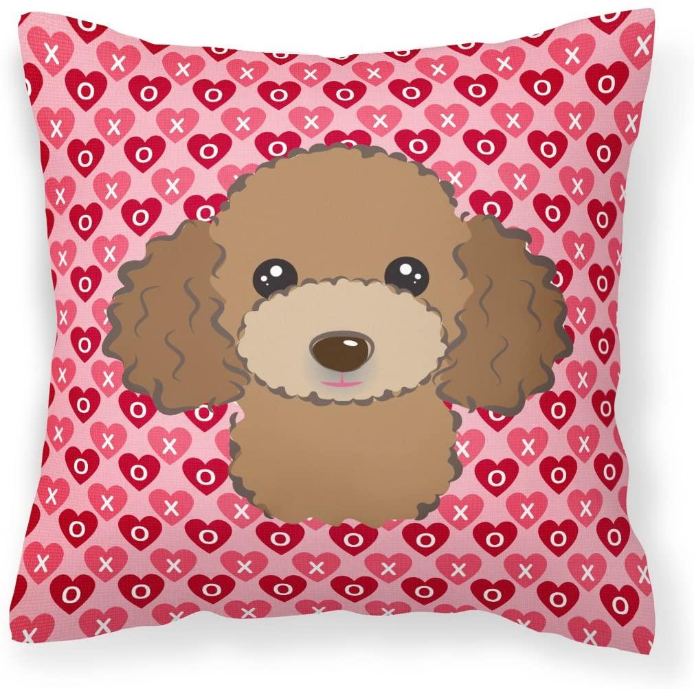 Caroline's Treasures BB5326PW1818 Chocolate Brown Poodle Hearts Fabric Decorative Pillow, 18H x18W, Multicolor