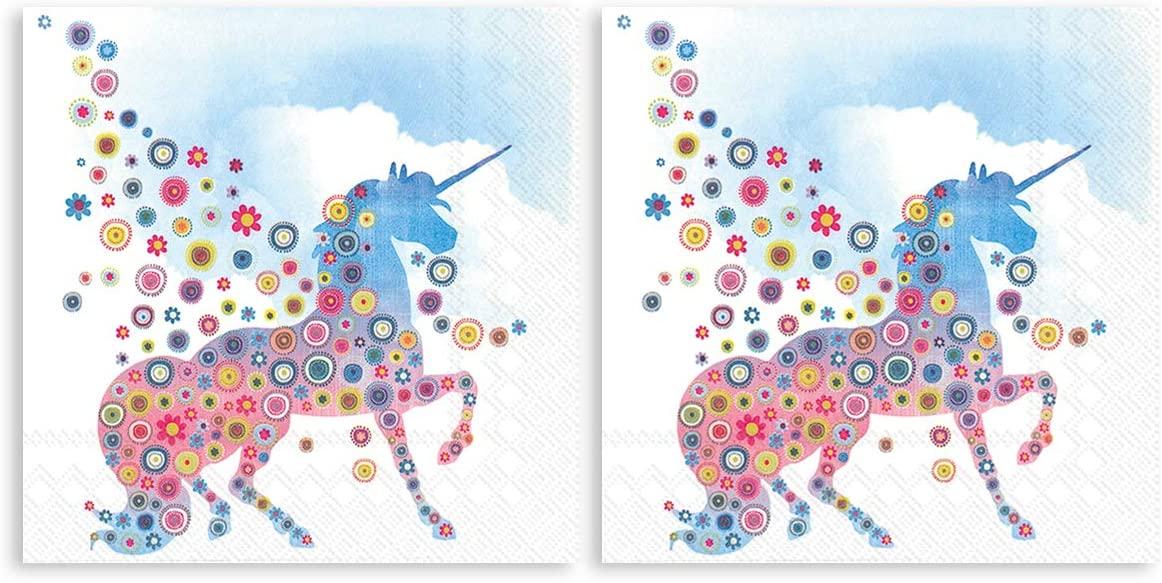 Boston International Magic Unicorn Cloud Blue 5 x 5 Non-Toxic Paper Cocktail Napkins 2 Packs of 20