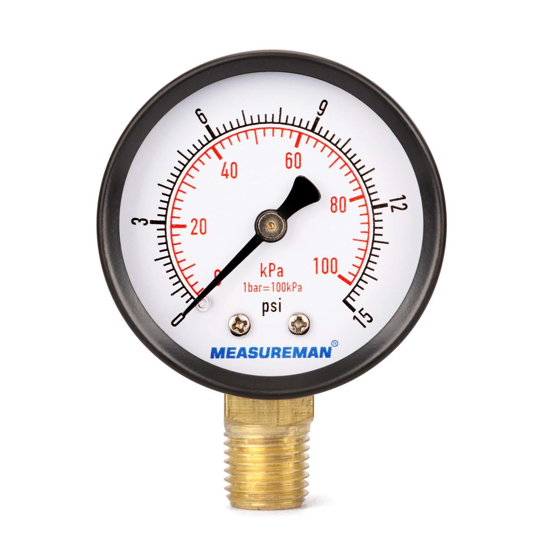 Measureman Low Pressure Gauge 0-15psi/kpa Dry Air Pressure Gauge, 2