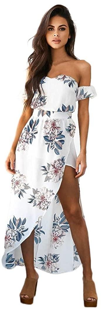 FUNIC Women Summer Sundress, Boho Long Maxi Evening Party Beach Dress