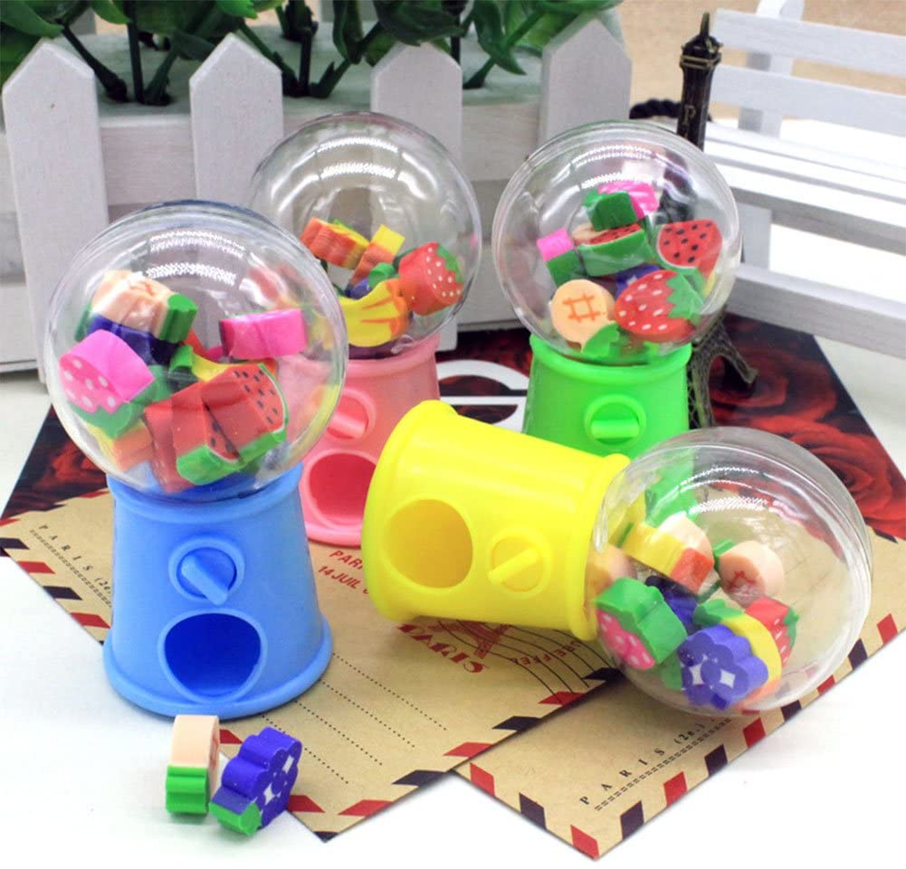 AKDSteel Cute Cartoon Fruit Twisted Egg Machine Eraser Primary Stationery School Students Prizes Gifts Fruit Gift Toys