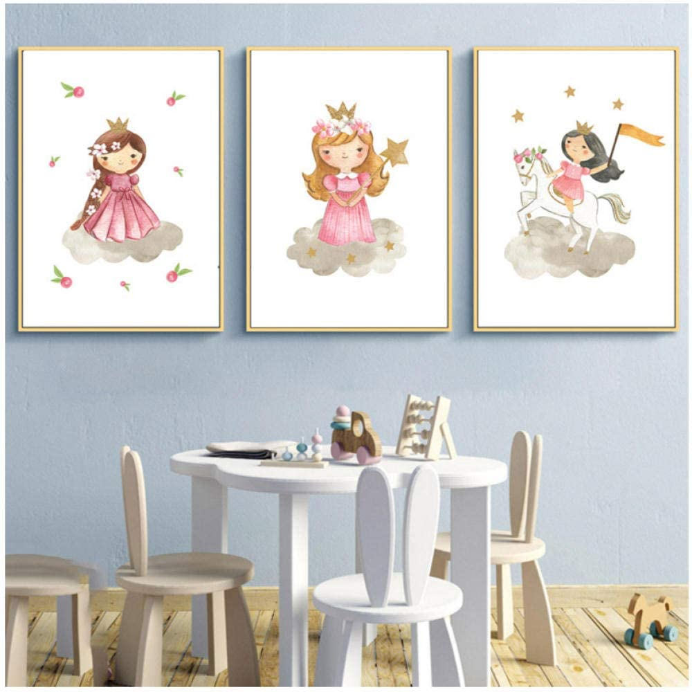 LRXMAS Baby Girl Room Decor Canvas Picture Prints Cartoon Princess Poster Pink Nursery Print Painting Nordic Wall Pictures Baby Room-40x60cmx3 Pcs No Frame